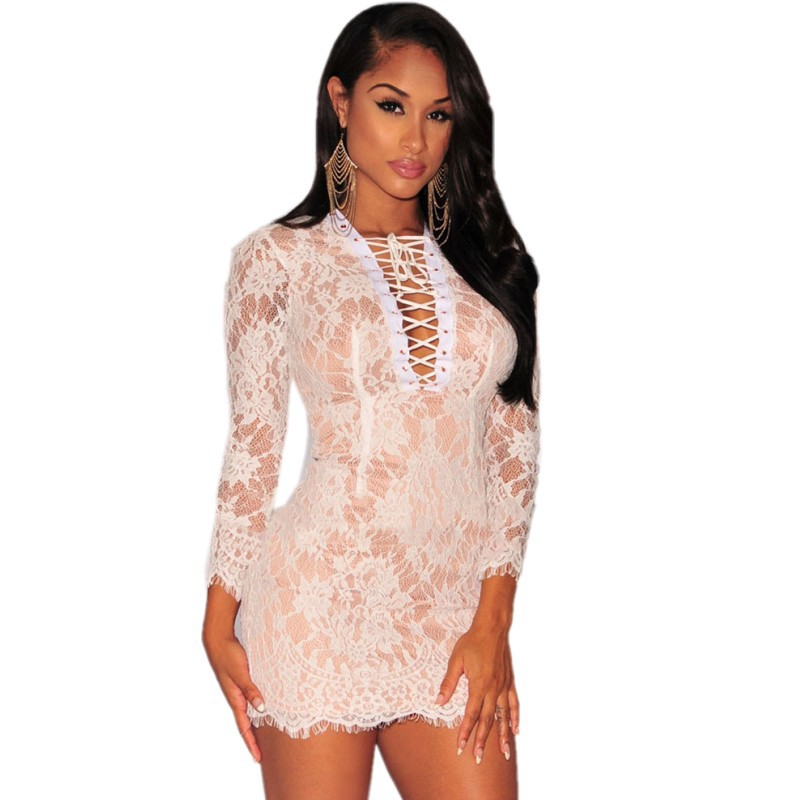 78bd0900766 Get Quotations · Vestido de noiva 2015 black white lace dress up nude  illusion long sleeve mini dress