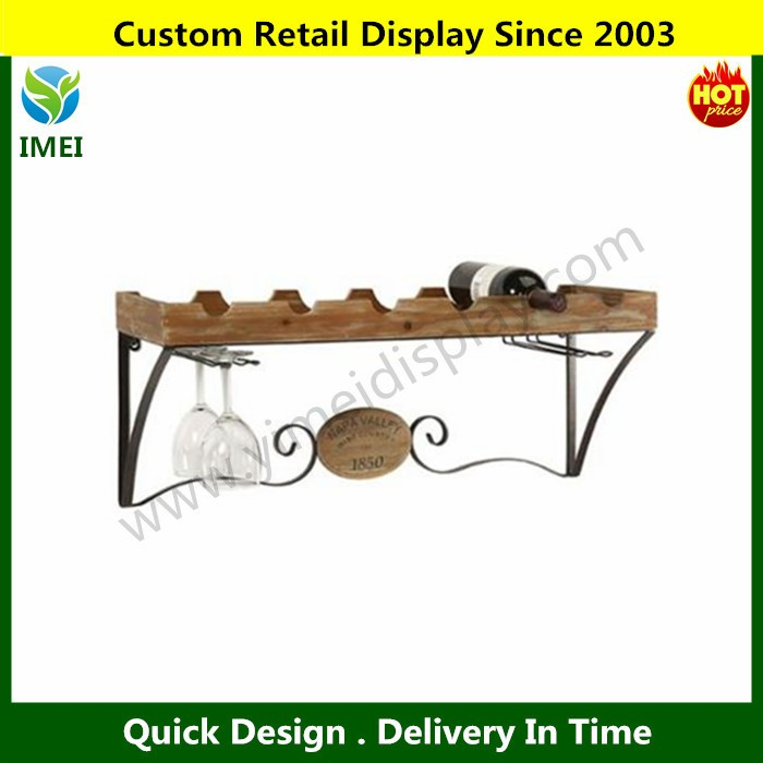 Wood And Wrought Iron Wine Bottle Shelf With Gl Holder Rack Ym5 1484 Storage Display Stand Bathroom