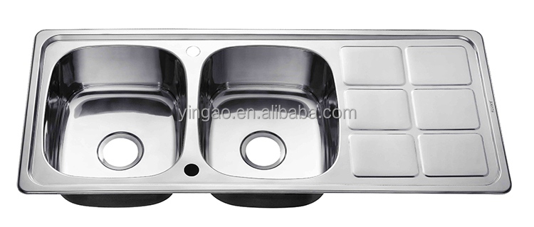 Custom Size Topmount Stainless Steel 304 Double Bowl Kitchen Sink
