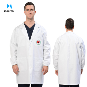 Customer Logo Long Sleeve 100% Cotton Doctor Uniforms White Lab Coat