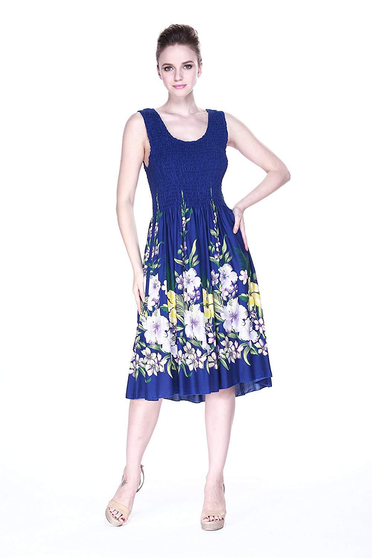 652a5d475a25 Get Quotations · Hawaii Hangover Women's Hawaiian Tank Elastic Luau Dress  Rafelsia Border