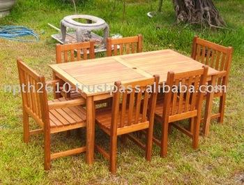 Vietnam Eucalyptus Wood Garden Outdoor Furniture Dining Set