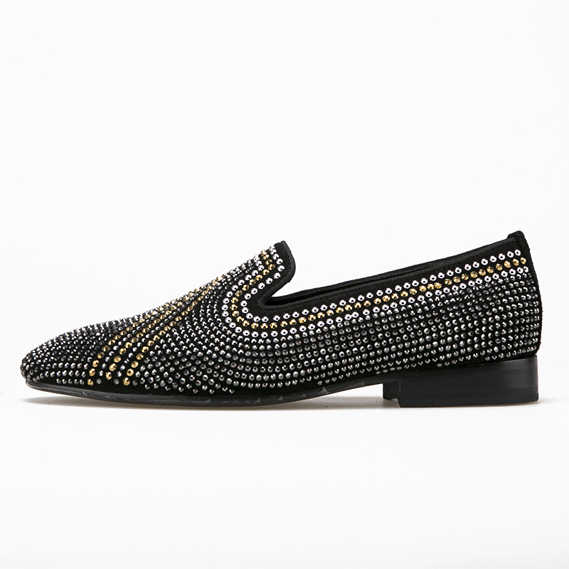 black casual shoes rhinestone leather men factory vqxArvn