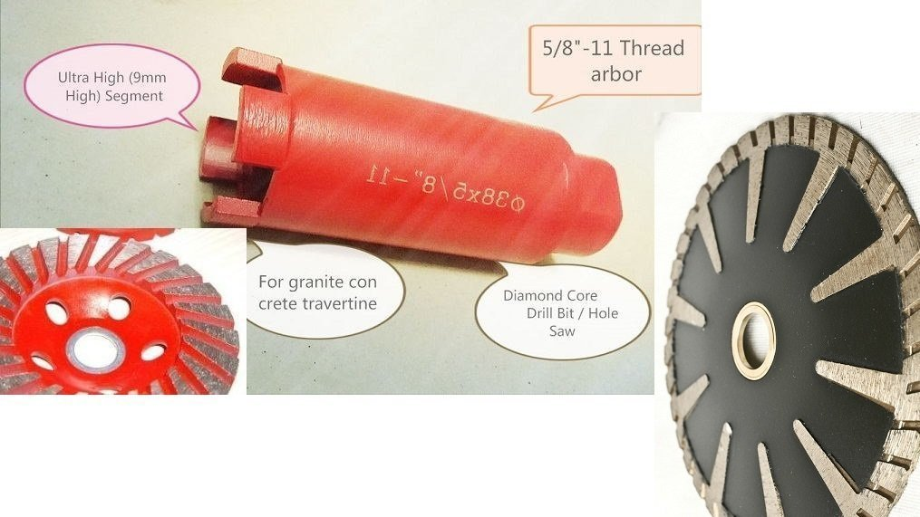 "1 1//4/"" diamond core bit 4/"" masonry sanding grinding cup concrete granite grinder"