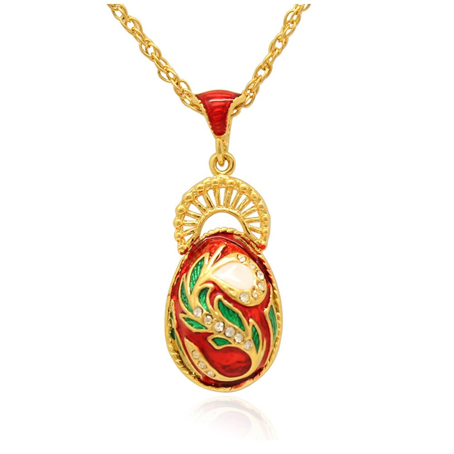 MYD Jewelry Color Enameled Woman Peacock Tail Faberge Egg Pendants Necklaces