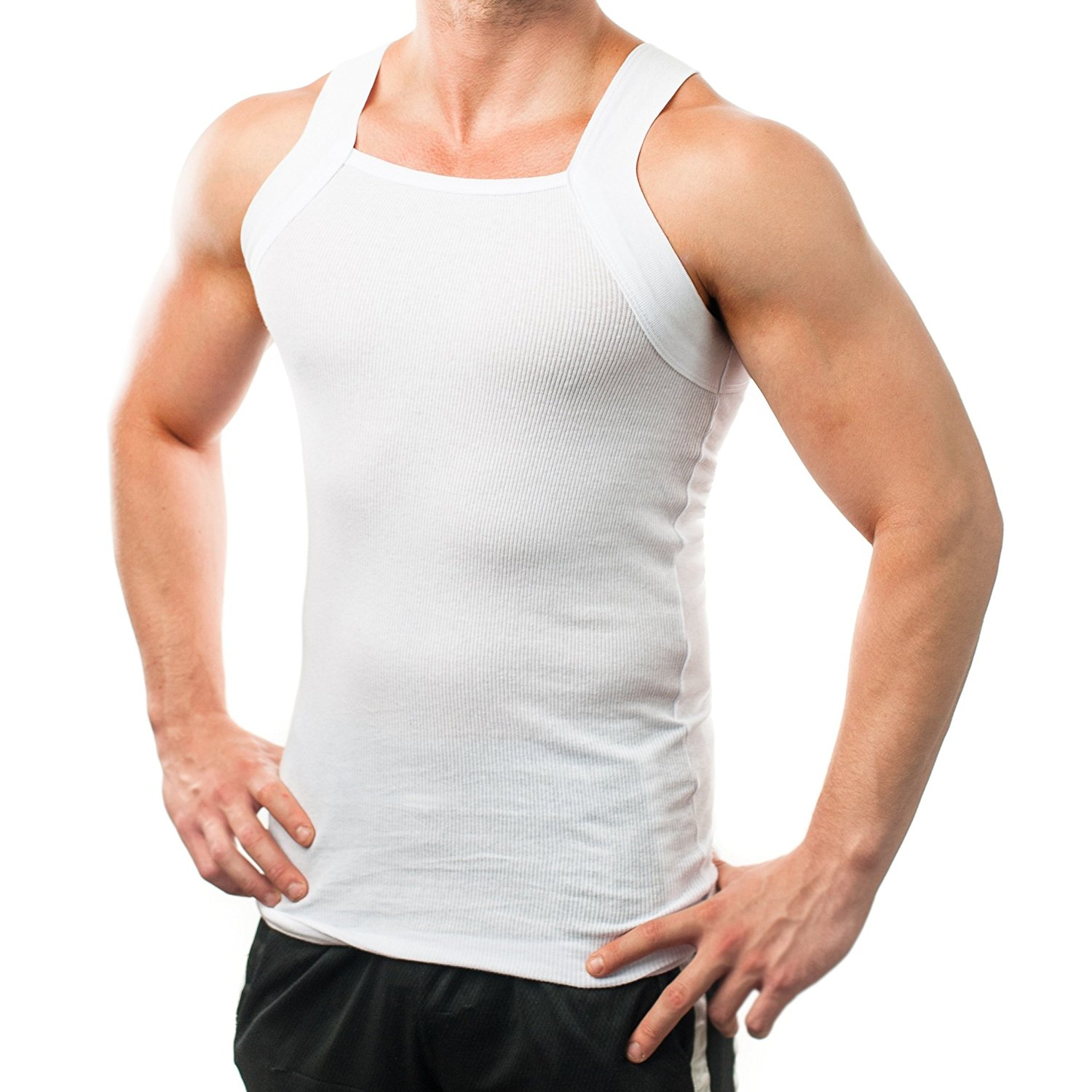 60d64aba086dd Different Touch Men s G-unit Style Tank Tops Square Cut Muscle Rib A-Shirts
