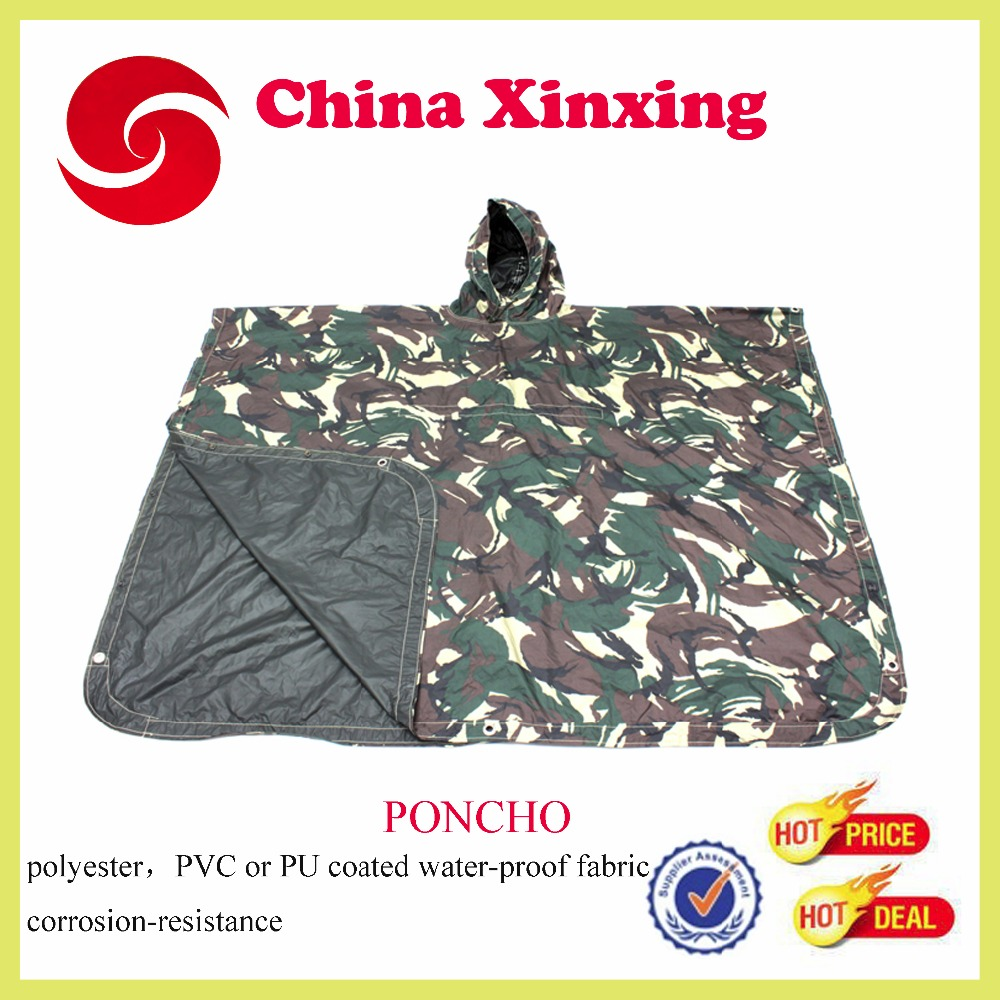 Army or Military Poncho Raincoat with Camouflage pattern