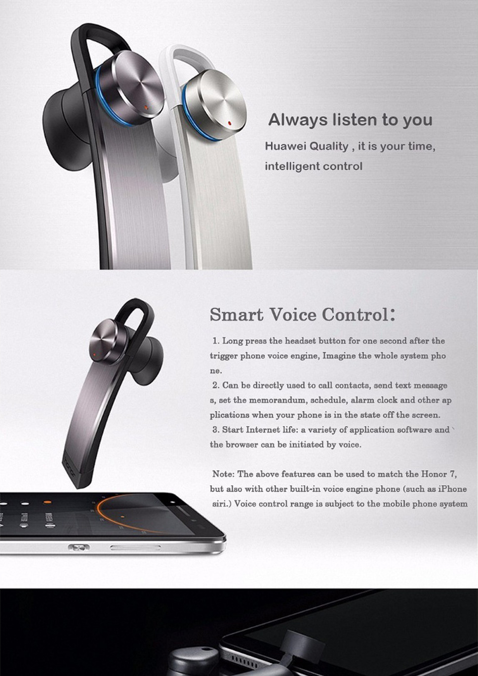 Huawei Honor AM07C Small Whistle Bluetooth Headset Type C Smart Voice  Control Earphones