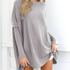 baggy sleeve loose fit sweater shirts cotton tunic women solid knit blouse