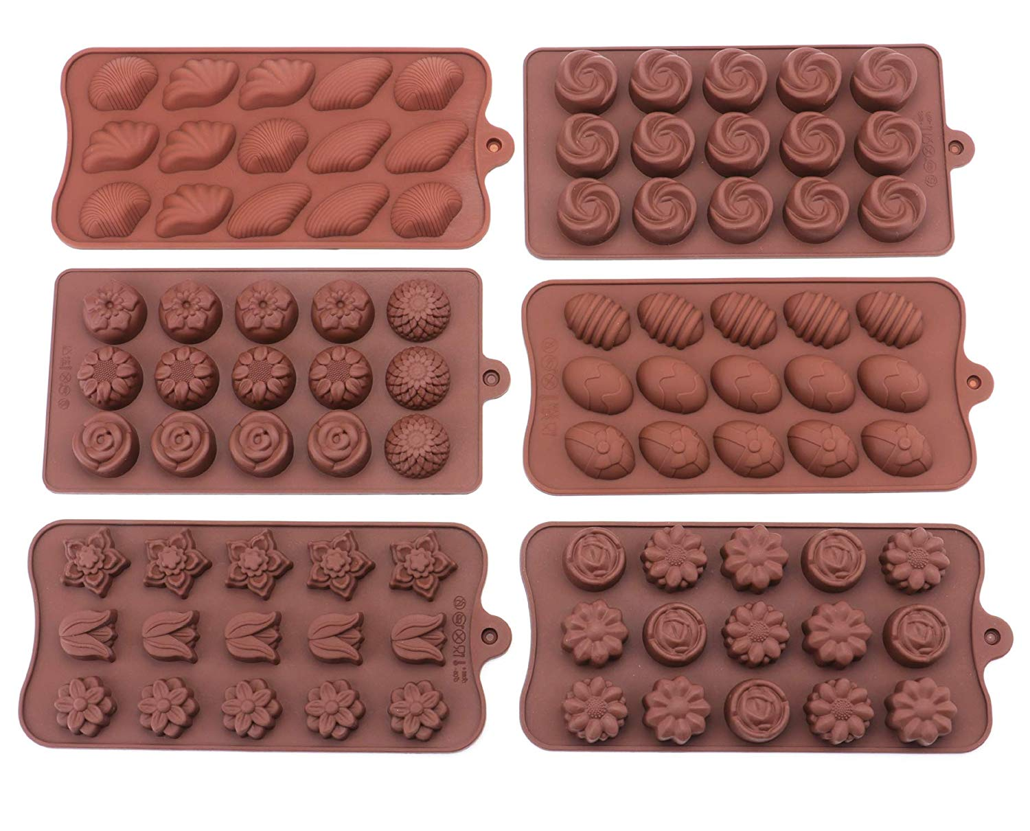 Bekith 6 Pack Non-stick Silicone Candy Molds - Silicone Molds for Chocolate Jelly Candy Cake DIY - Chocolate Molds Silicone Molds Candy Mold
