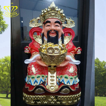 High Quality Painting Fiberglass Buddha Fortune God Statues For Indoors Decoration Sale