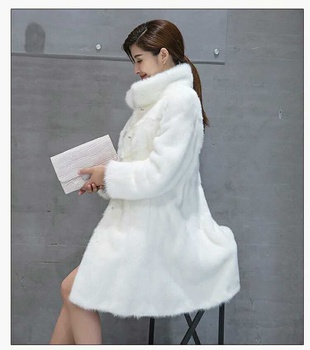 gorgeous white whole cut skin processing natural mink fur coat for ladiees
