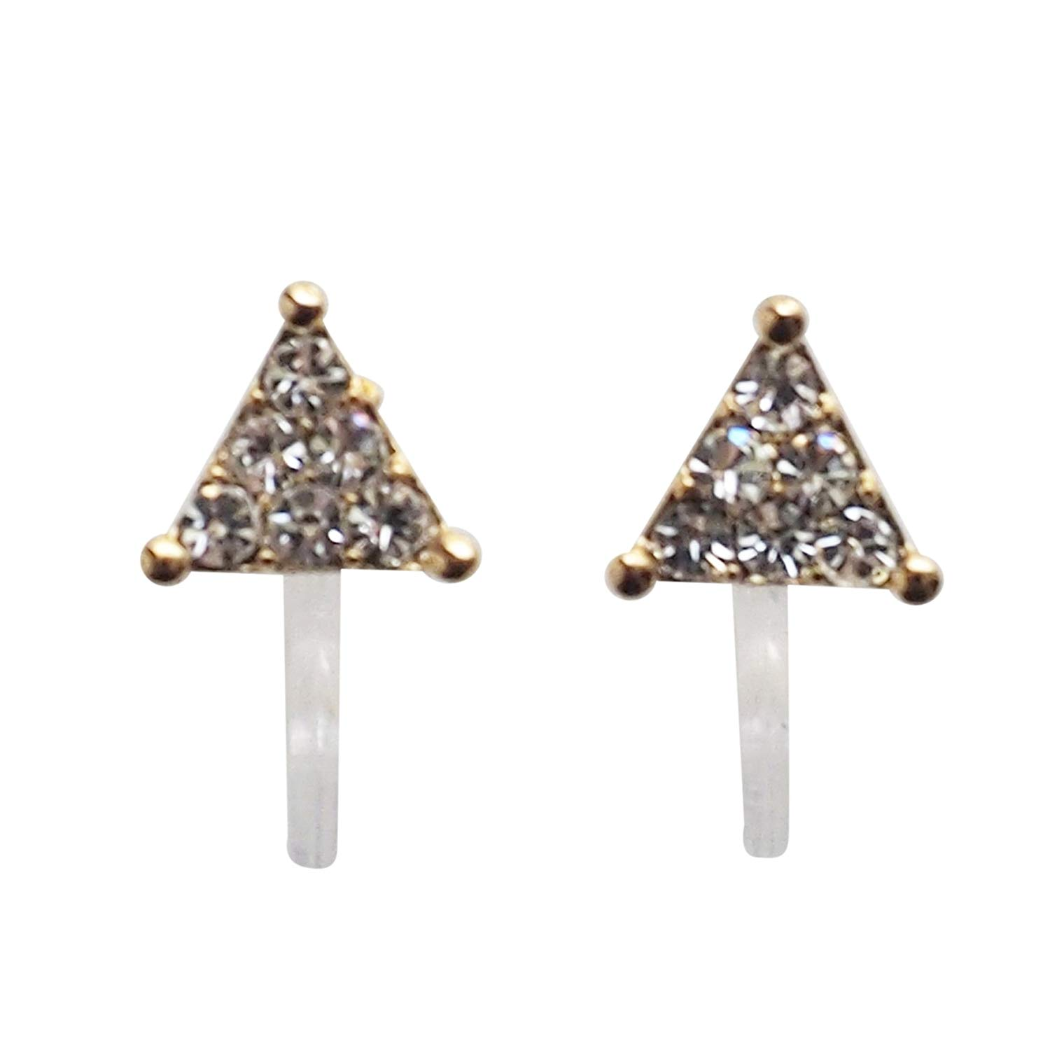 Miyabi Grace Women's Triangle Pave Small Rhinestone Crystal Invisible Clip On Unique Stylish Stud Earrings Gold tone