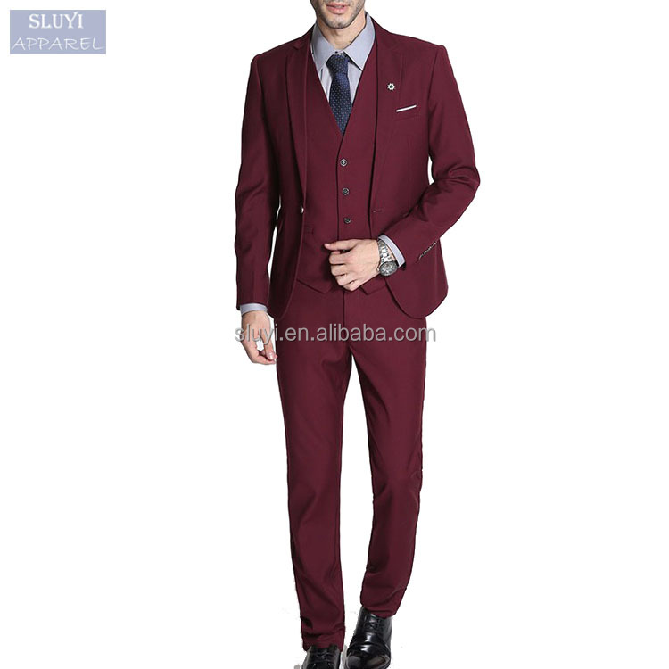 Slim Fit Plus Size Red Black White Wedding Suits Business Man Formal ...