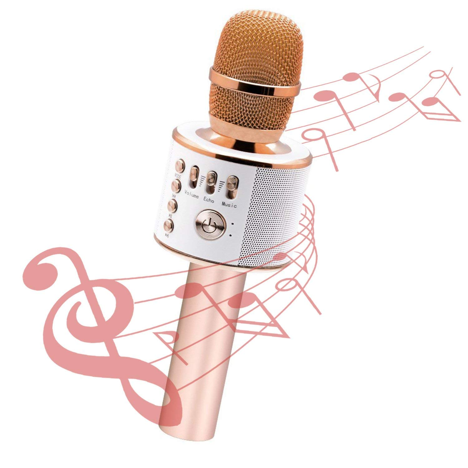 Cheryu Wireless Bluetooth Microphone for iPhone/Android/iPad/Sony/TV/PC and All Smartphone, Portable Handheld 3-in-1 Multi-function Karaoke Mic for Kids,Adults Home KTV Outdoor Party(Rose Gold)