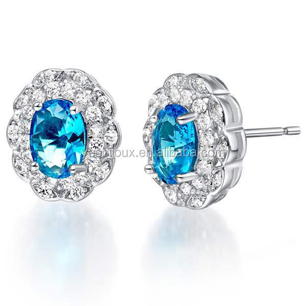 925 silver round shape cristal stud earings