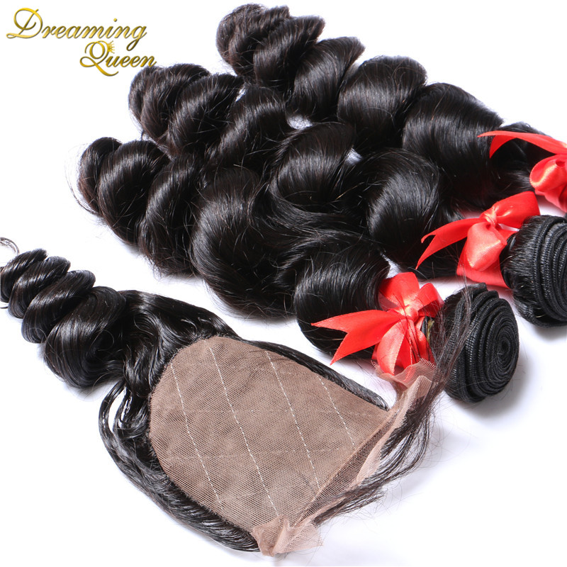 Silk Base Closure With Bundles Brazilian Virgin Hair With Closure Loose Wave 4 Pcs Dreaming Queen