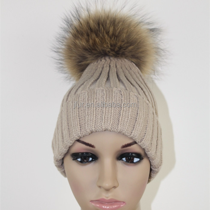Lady Stylish Vintage beanie cap natural real fox raccoon fur pom pom cable wool knitted hats with ball top