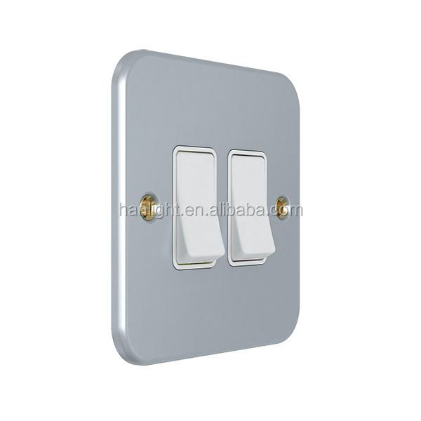 Uk Type 10a 2 Gang 2 Way Plate Metal Wall Switch