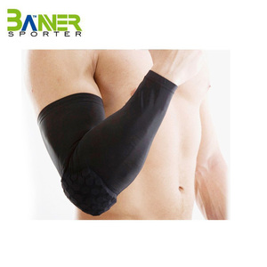 Basketball Football High Elastic UV Protective Custom Sports Compression Arm Sleeve with eva pad for cycling