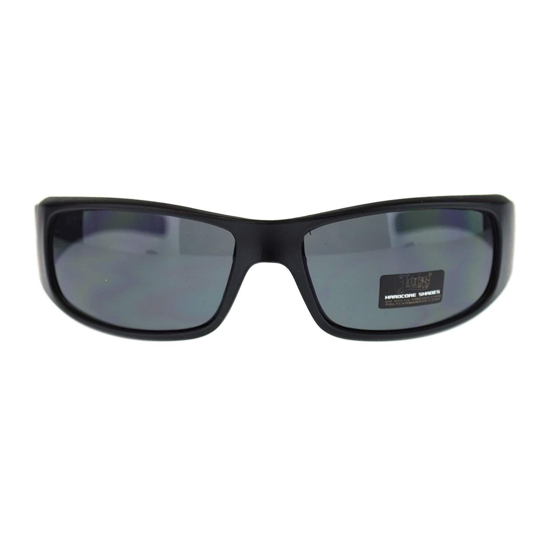 38cb78cb05 Get Quotations · Locs All Black Mens Hardcore Gangster Rectangular Warp Sport  Sunglasses