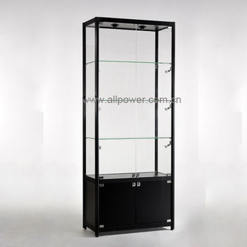 Lockable Hinged Dual Open Doors For Glass Showcase And Milamine Cabinet,  Rectangular Free Standing Display