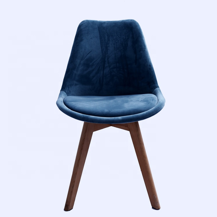 High quantity comfortable armless cloth upholstered leisure tulip chair