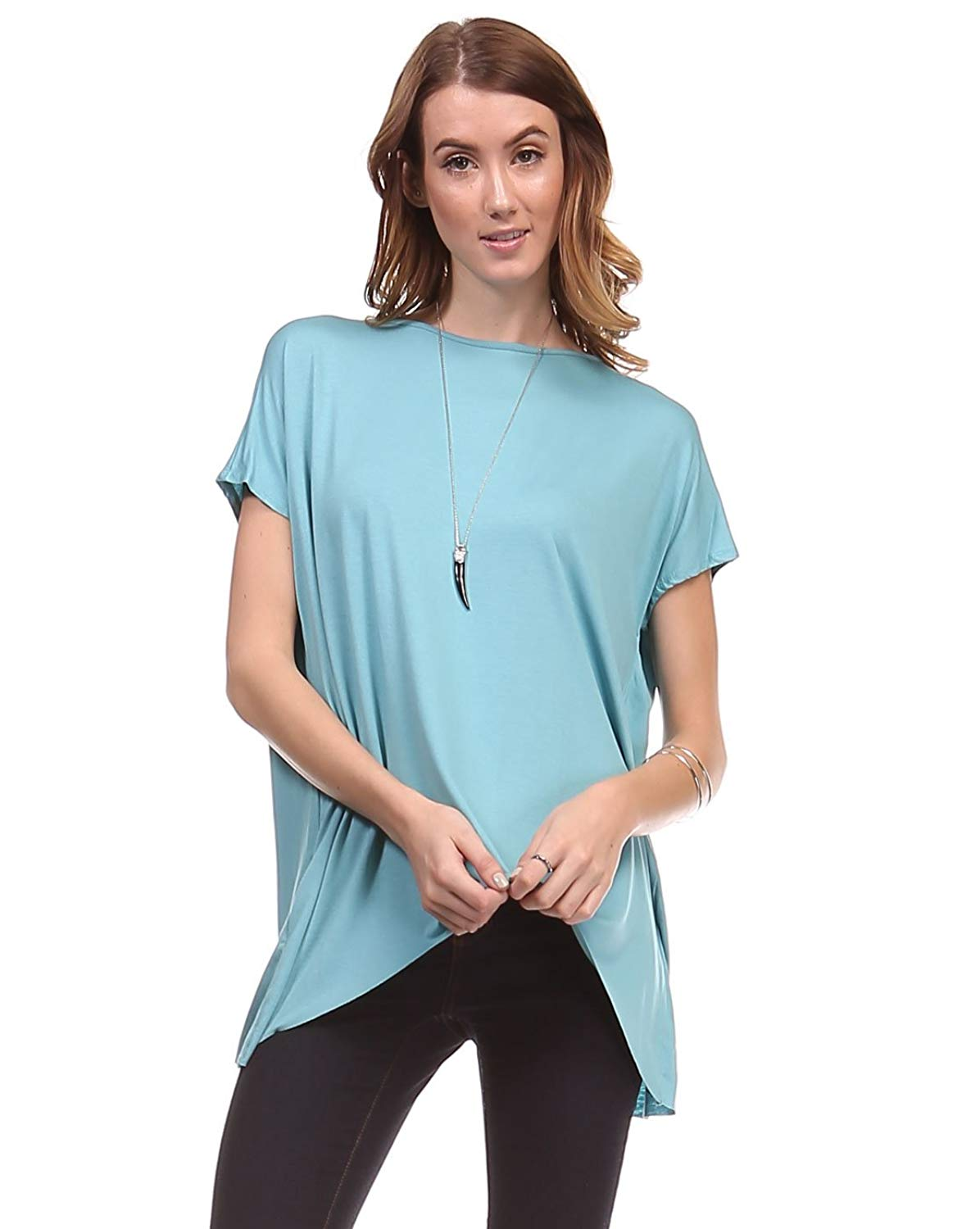 96e8532ac6 Get Quotations · Ladies Short Sleeves Boatneck Open Tulip Back Tunic Top