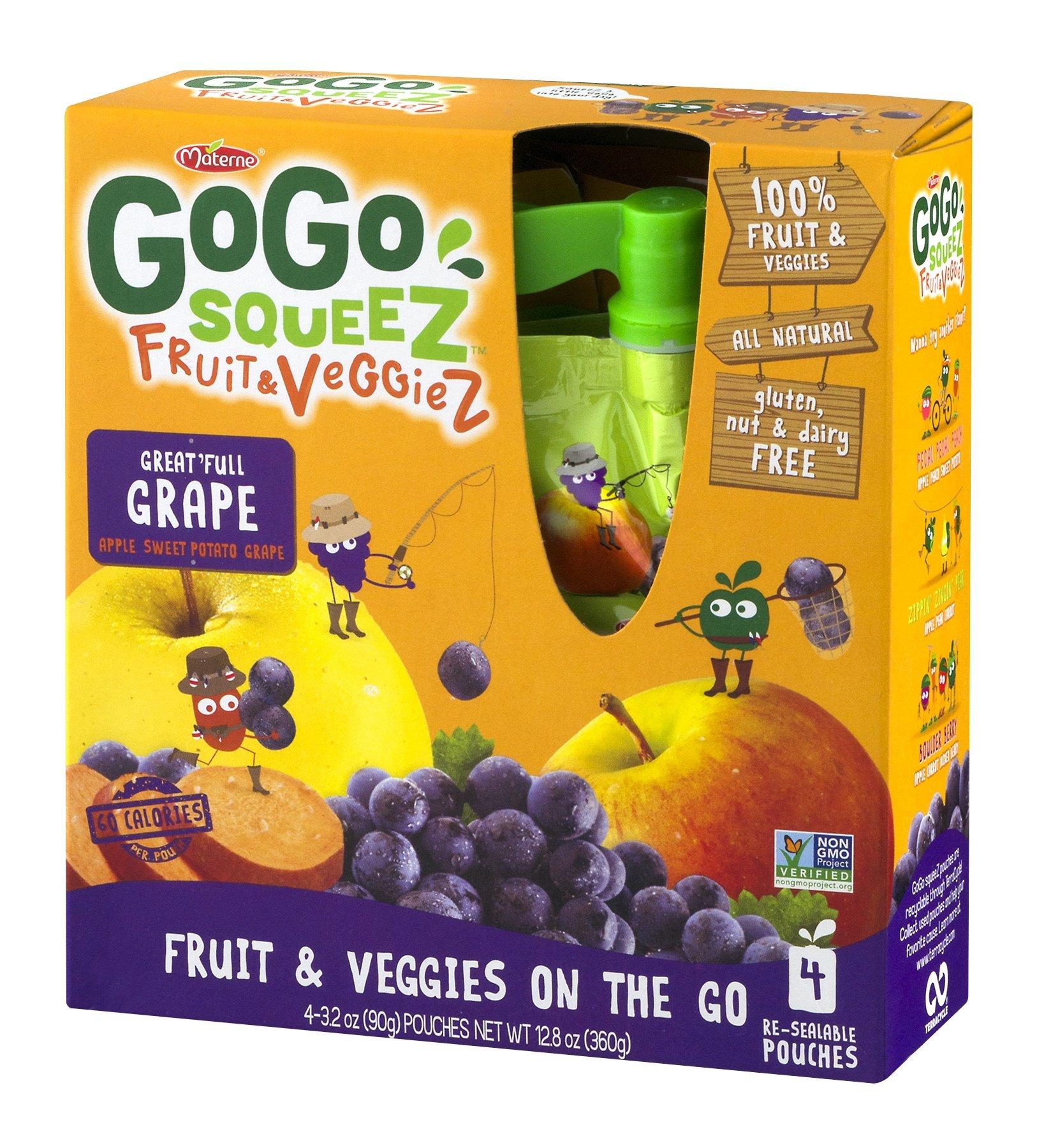 GoGo SqueeZ Fruit & VeggieZ on the Go, Apple Sweet Potato Grape, 3.2 Ounce Portable BPA-Free Pouches, Gluten-Free, 48 Total Pouches (12 Boxes with 4 Pouches Each)