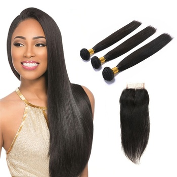 100 Human Hair Extension Bundles With Closure, 10A Grade Straight Peruvian Human Hair Products For Black Women