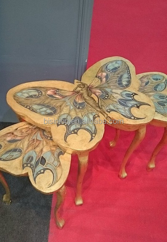 Fancy Elegant Butterfly Shaped Nesting Table Wooden