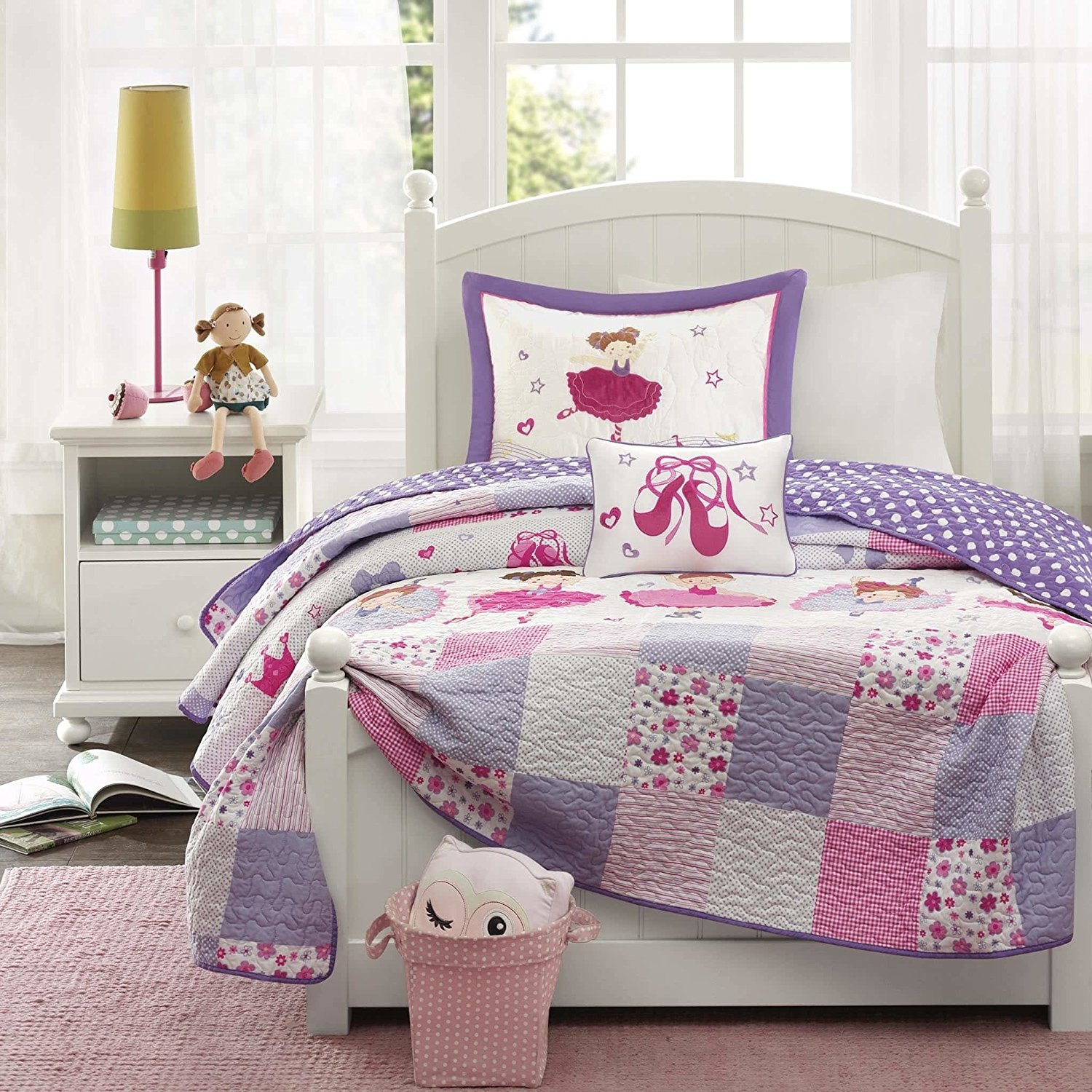 UK4 4 Piece Kids Pink Patchwork Full Queen Coverlet Set, Purple Grey Squared Checkered Theme Bedding Rugby Stripe Plaid Cute Floral Flowers Reversible Ballet Dancers, Polyester