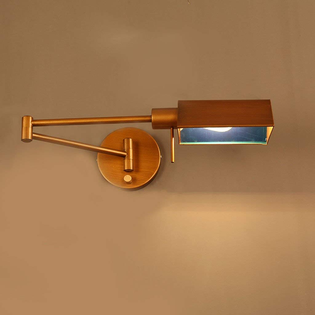 Retro Wall Lamp, Loft Foldable Iron Wall Lamp American Style Long Arm Rocker Arm Bedroom Bedside Wall Lamp Industrial Winds Study Wall Lamp Single Head E14 , 40 12CM ( Color : A )