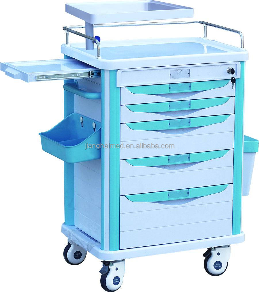 emergency cart Medical carts are lightweight and durable mobile carts used in medical facilities for storing and transporting medications, emergency equipment, and medical supplies.