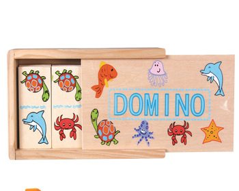 china online shopping 28 pcs hot-sale sea animal baby's safety gift small size puzzle wooden boxkids domino game set