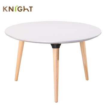 Chinese Style Modern Lazy Susan Scandinavian Round Coffee Table With Solid  Wood Leg
