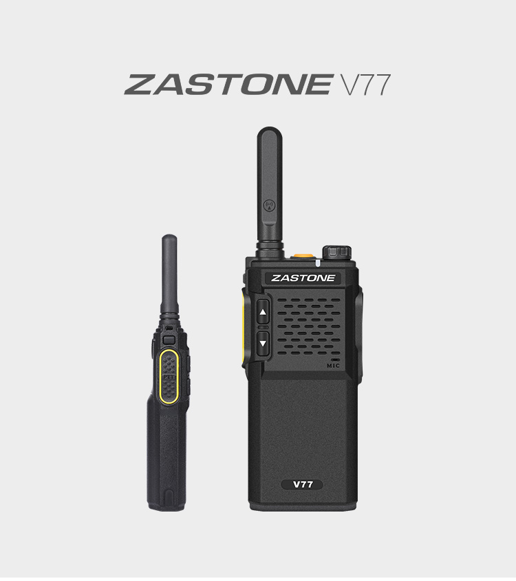 NEW fashion design ZASTONE V77 portable high low power uhf 3w 16ch mini walkie talkie