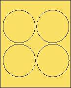 """4"""" Round Pastel Yellow Labels for Laser Printers, Inkjet Printers or Copier Machines. (GLC400PY)"""