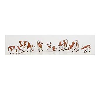 HO Cows & Calves, Brown/White (7)