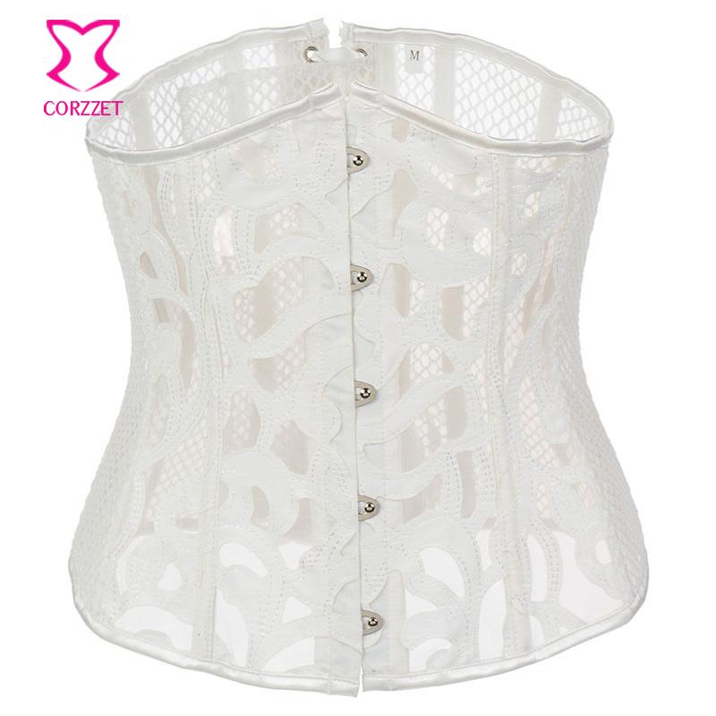 07ee37269b 2019 White Leather Fishnet Sexy Underbust Corset Gothic Waist ...