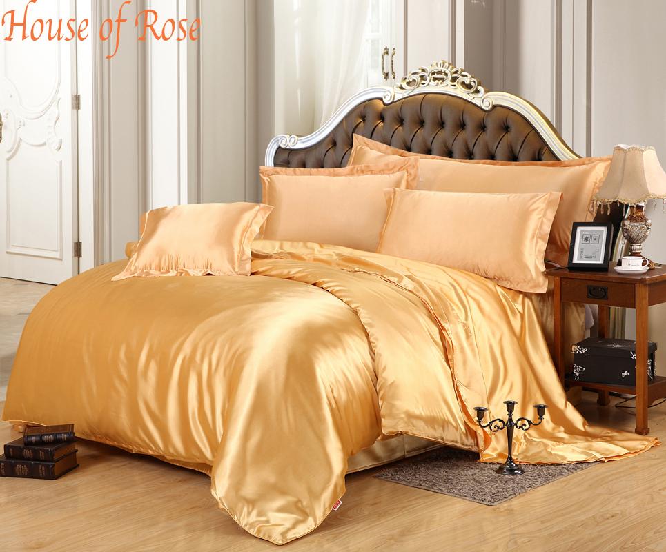 Luxury Gold Silk Duvet Cover Sets Bedding Set 4pc King
