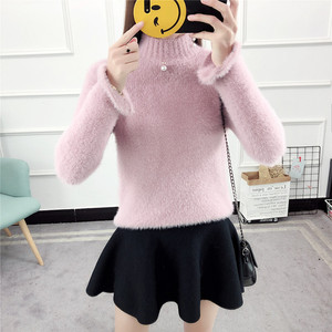 Winter high neck super soft animal hair computer knitted loose woman mohair christmas pullover sweater