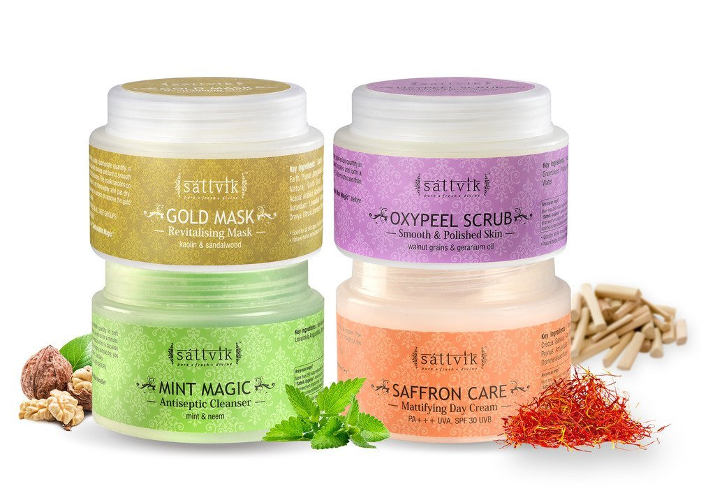 Sattvik Organics Ultimate Indulgence Kit • Gives a Firm & Fresh Look • Enhances Complexion • Leaves Skin Visibly Smoother & Flawless • Maintains Moisture Balance • All Day Sun Protection