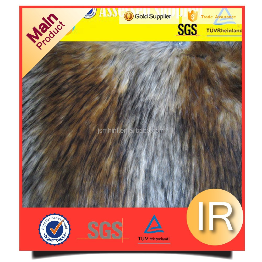 Assessed supplier knitted jacquard and tip printed faux fur fabric for collar