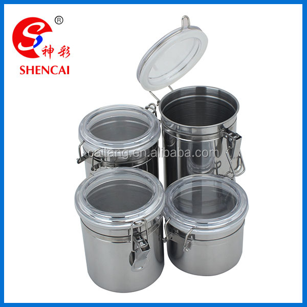 4 Piece Stainless Steel Kitchen Canister Set with Airtight Lid and Clamp