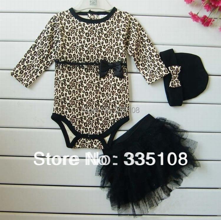 New Born Baby Girl Clothes leopard 3pcs Suit Rompers Tutu Skirt font b Dress b font