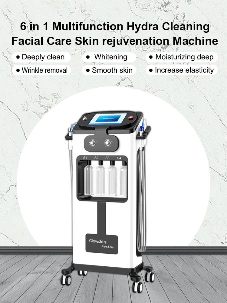 6 in 1 Hydra dermabrasion facial machine Bio Skin Scrubber Ultrasonic Six Polar RF skin rejuvenation