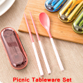 Free Shipping Outdoor Travel Picnic Protable Tableware Eco friendly ABS Tableware Chopsticks Spoon Fork Storage Box
