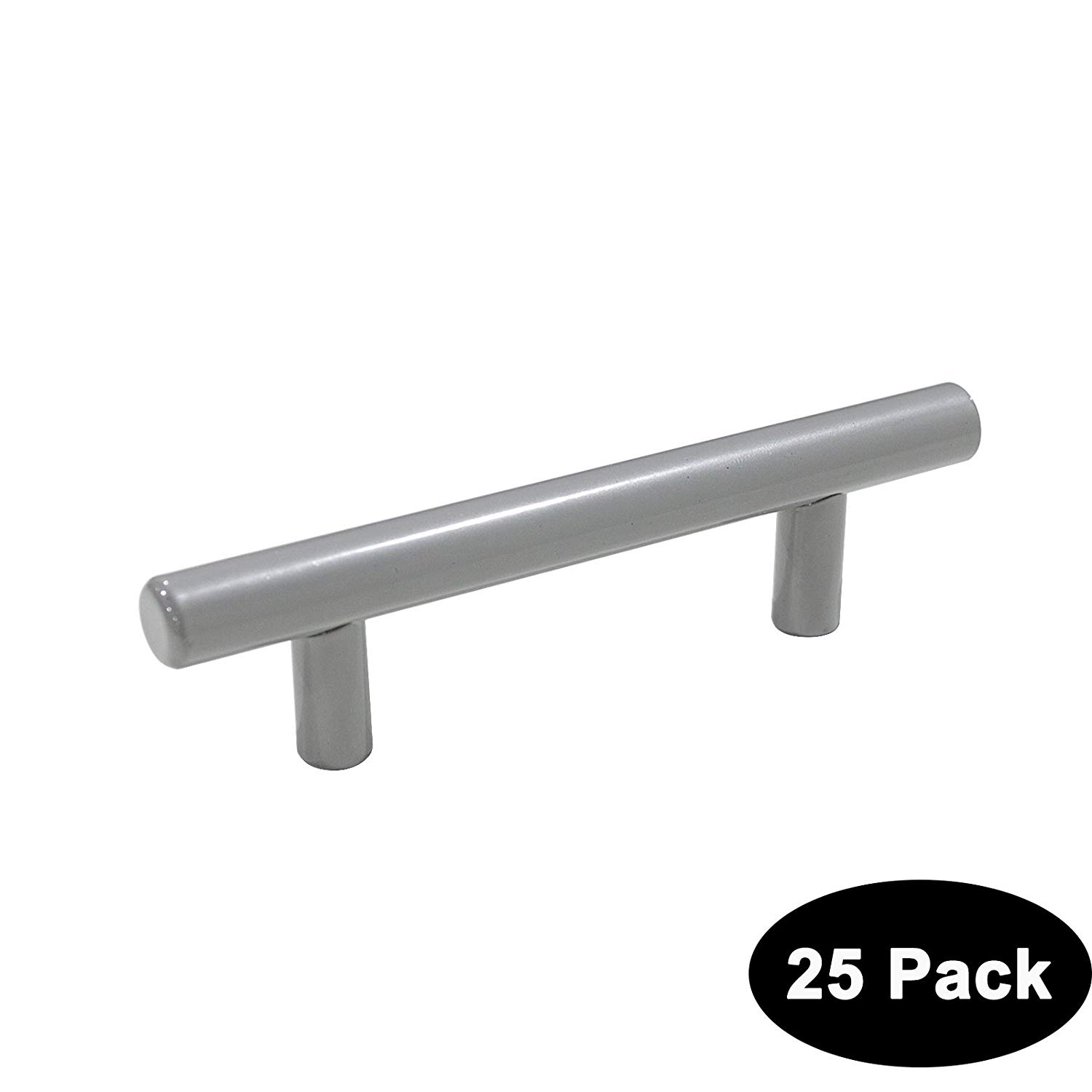 25 Pack Probrico 3inch (76mm) Hole Centers European Style Kitchen Cabinet Door Handles, Drawer Handle Pulls Kitchen Cupboard T Bar Knobs and Pull Grey 12mm Diameter Stainless Steel