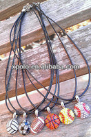 Wholesale leather chain football | baseball | basketball | rhinestone crystal balls pendant necklaces